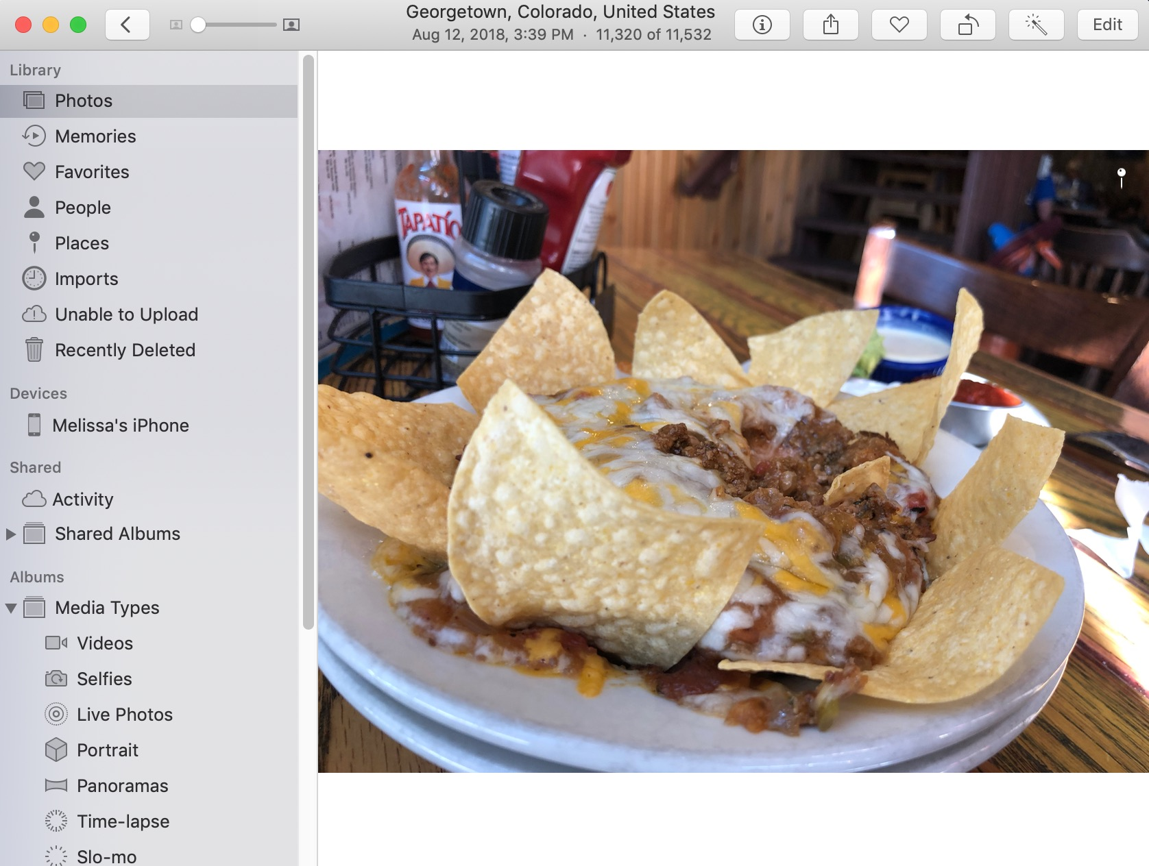 Nachos Picture in Photos on the Mac