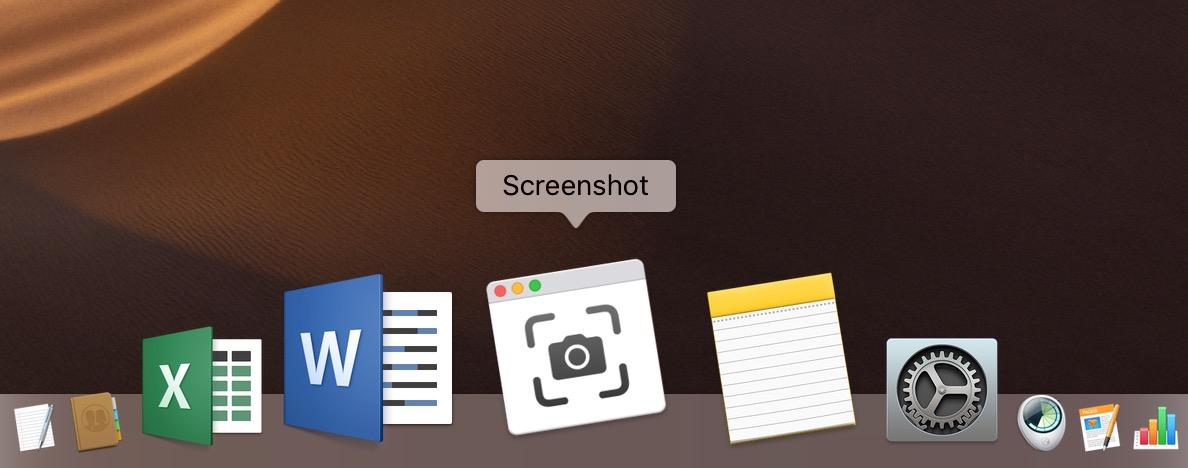 Screenshot App in macOS Mojave Dock