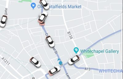 Screen shot of Uber app during strike