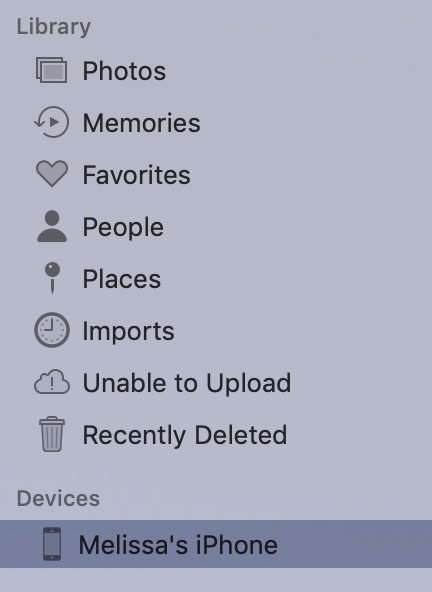 Sidebar of Photos Showing Device on the Mac