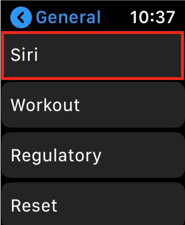 Siri Settings on Watch