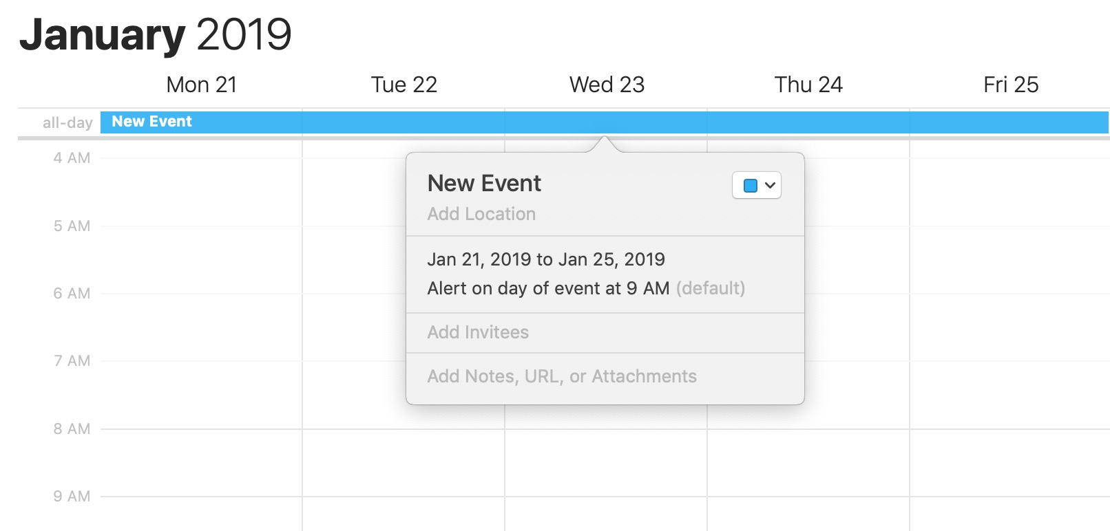 macOS Calendar Added All-Day Event in Week View