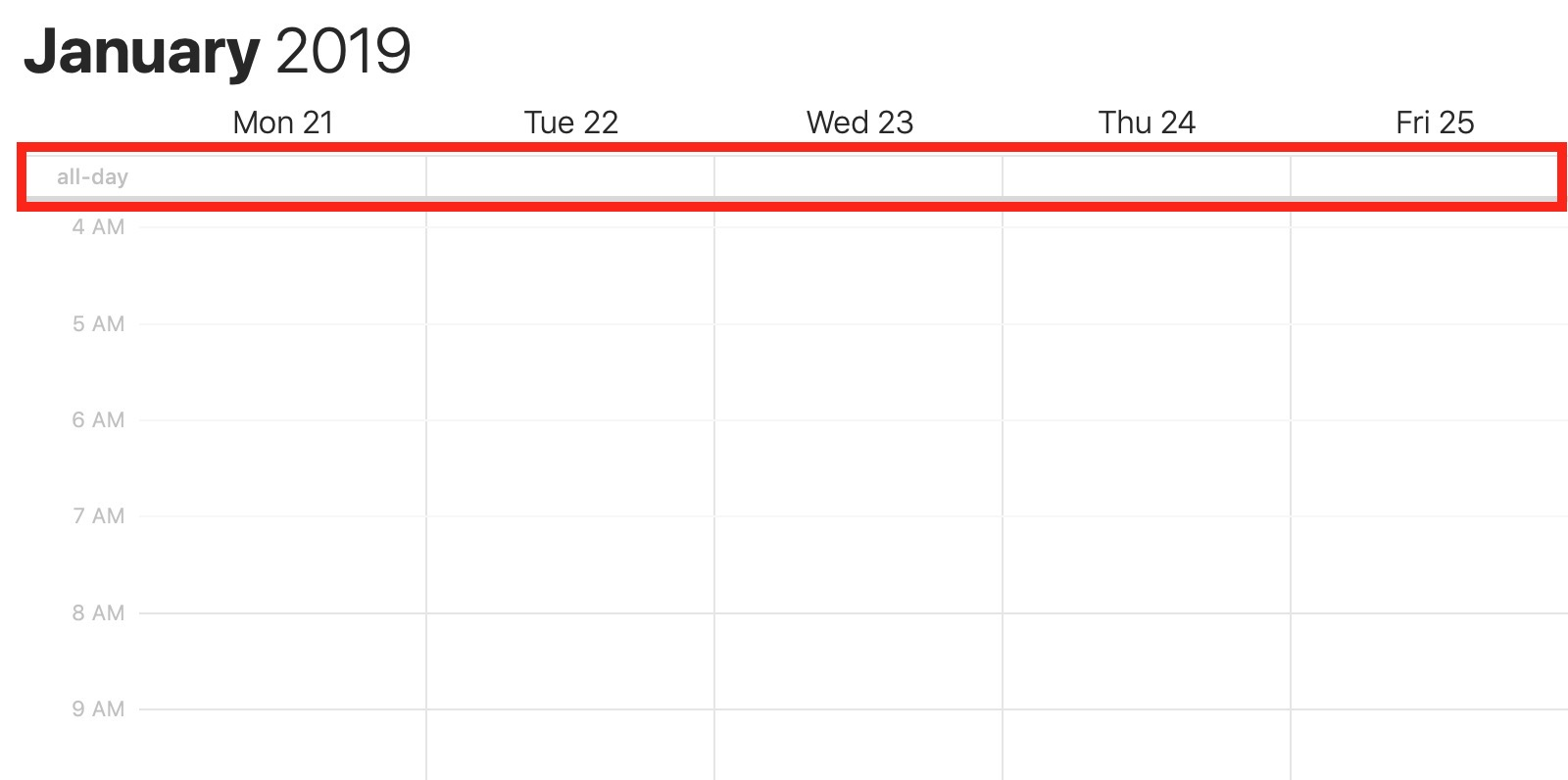 macOS Calendar All-Day Section in Week View