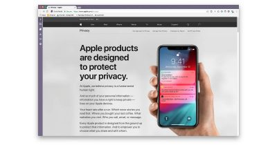 Apple website detailing user and device privacy