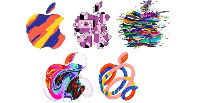 Apple logos promoting the