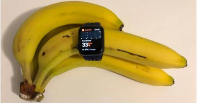 Apple Watch logging heart rate data on a banana