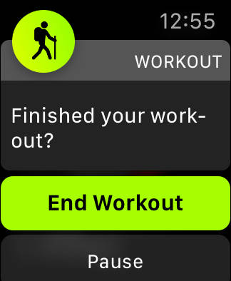 watchOS 5 End Workout notice on Apple Watch Series 4