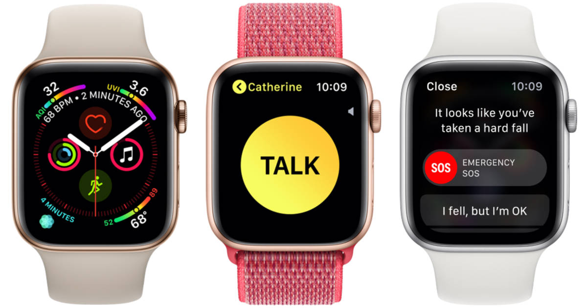 Apple Watch 4 Infograph, Walkie Talkie, and SOS screens