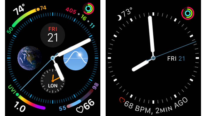 Infograph and Utility watch faces on Apple Watch Series 4