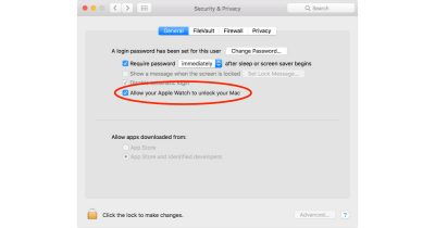 Unlock Mac with Apple Watch setting