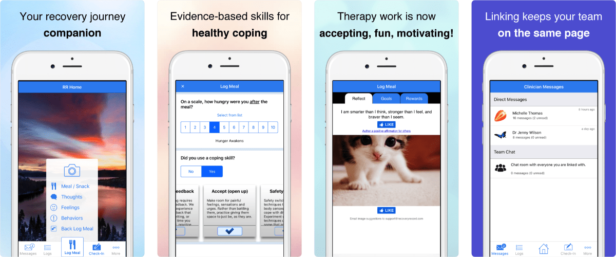 screenshots of recovery record app for binge eating study