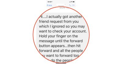 Facebook account hacked scam message