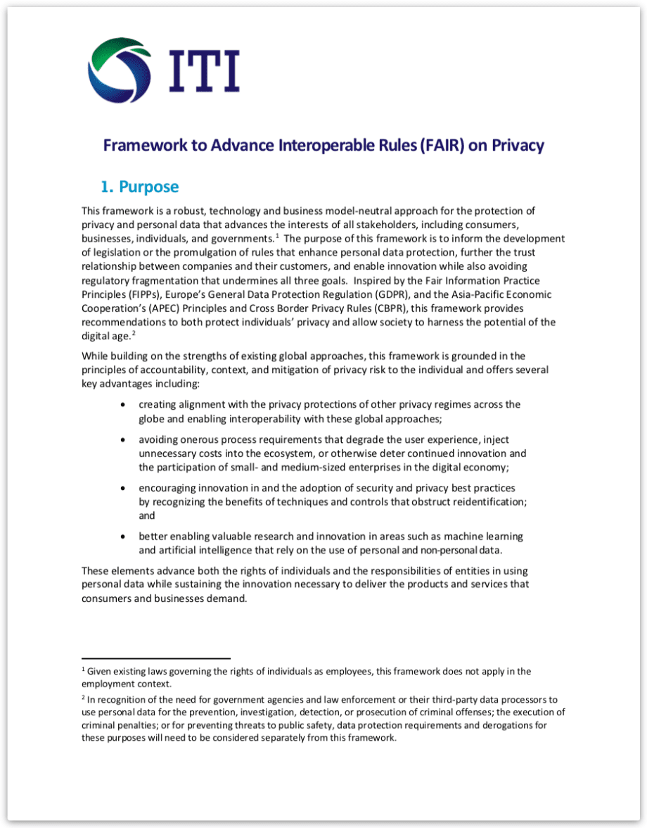Image of the privacy regulation framework from ITI