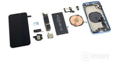 iFixit showing all the parts inside Apple's iPhone XR