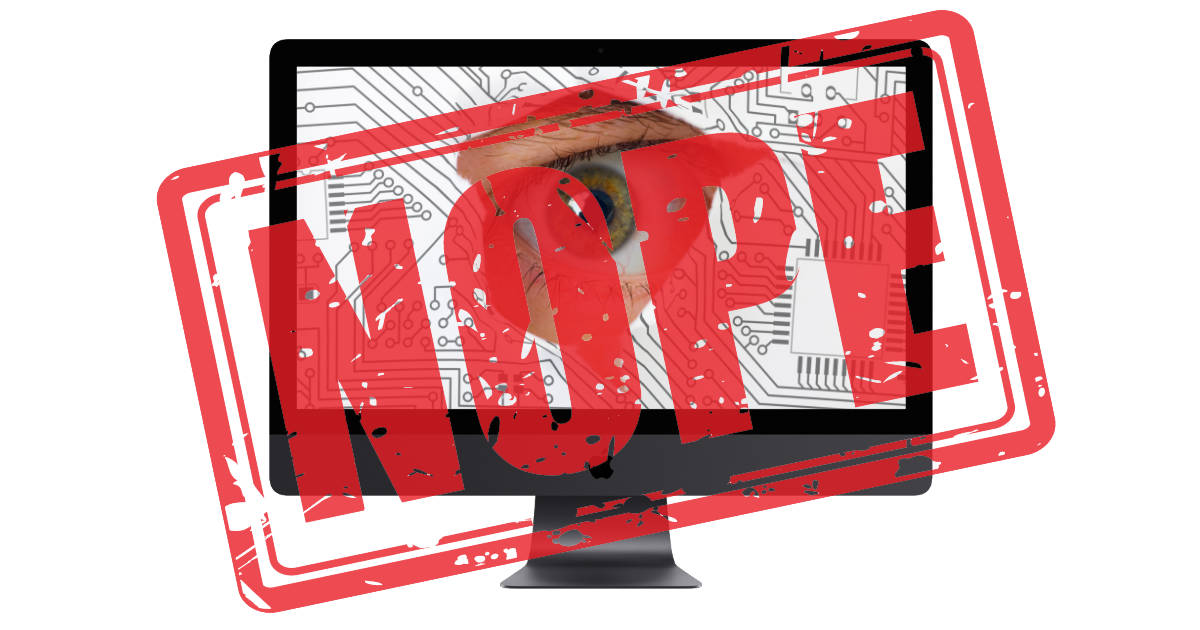Spy in iMac with big Nope stamp