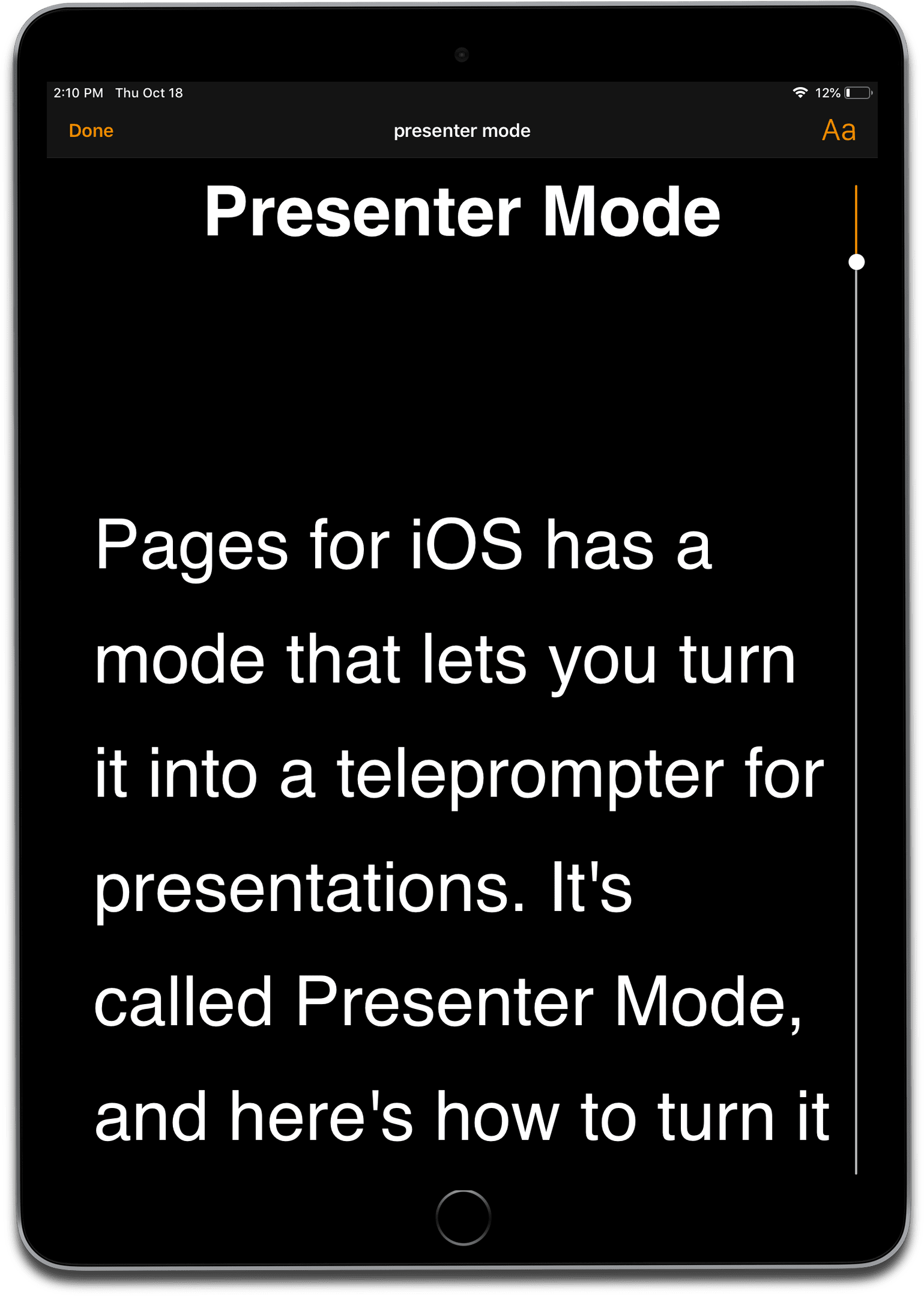using presenter to use an ipad as a teleprompter for presentations