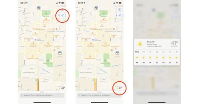 Maps app on iPhone showing local hourly weather conditions