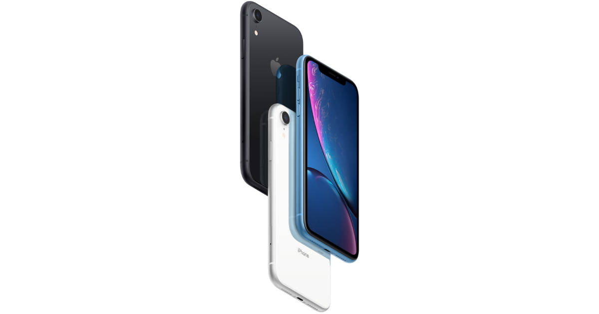 iPhone XR in black, blue, and silver
