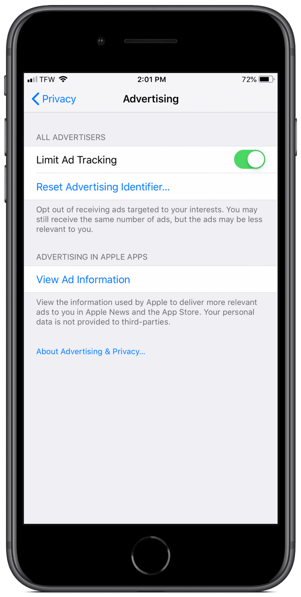 limit ad tracking in iOS settings