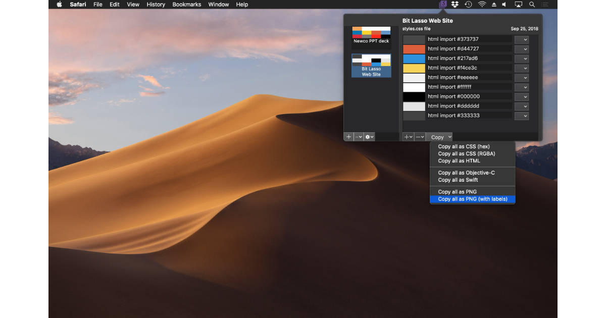 Swatch color palette manager for the Mac