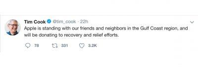 Tim Cook tweet about Hurricane Michael