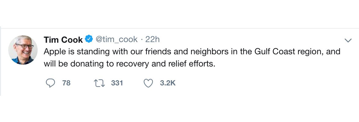 Tim Cook tweet about Hurricane Michael