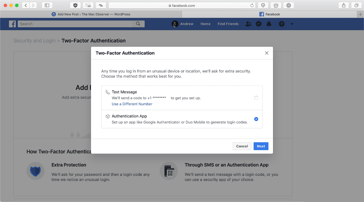image of using two-factor authentication on Facebook on macOS