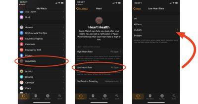 Apple Watch watchOS 5 Low heart rate alert setting in Watch app on iPhone
