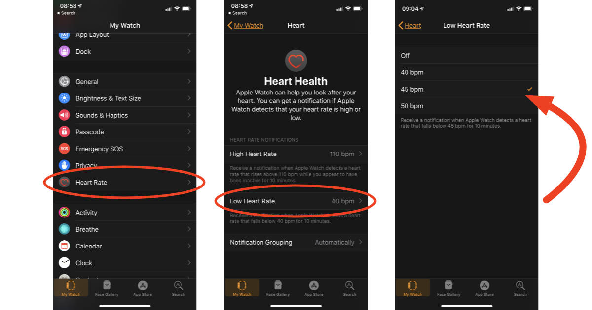 Apple Watch watchOS 5 Low heart rate alert setting in Watch app on iPhone