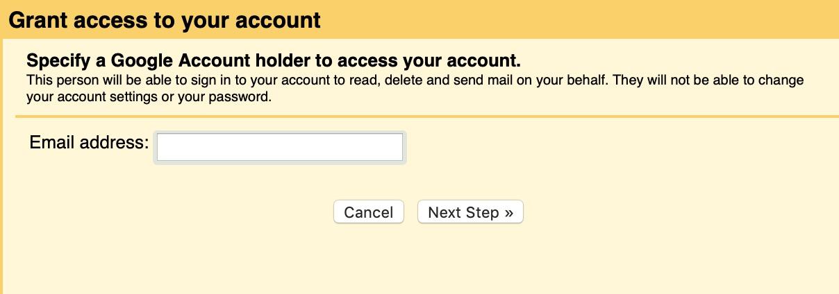 Grant Access in Gmail