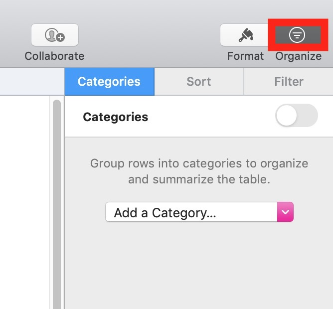 Organize Button in Toolbar
