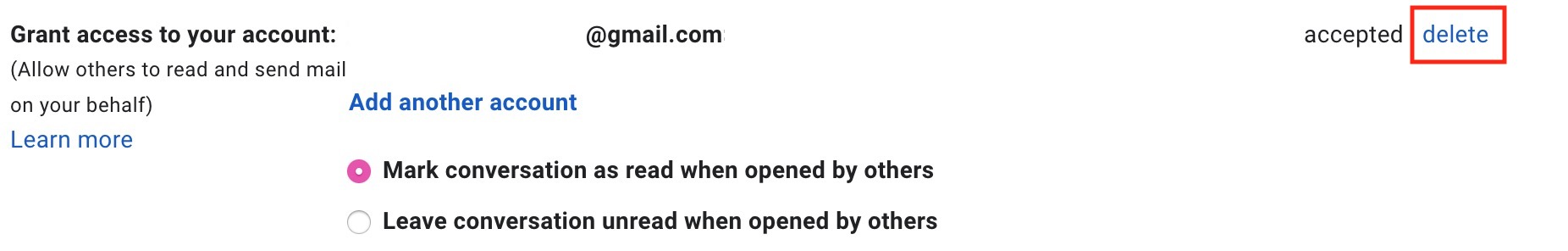 Delete Access to Gmail