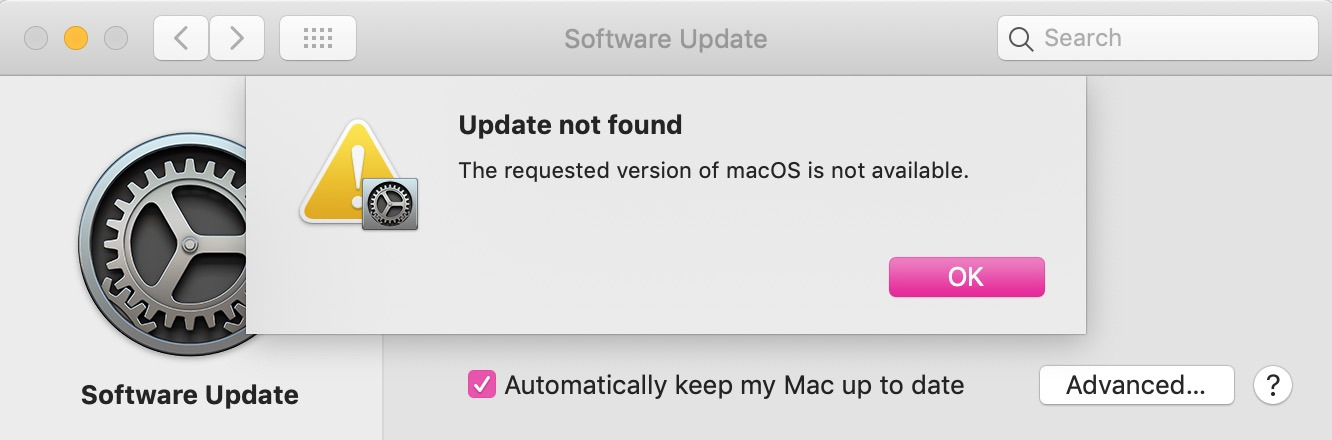 """Update Not Found"" Dialog Box"