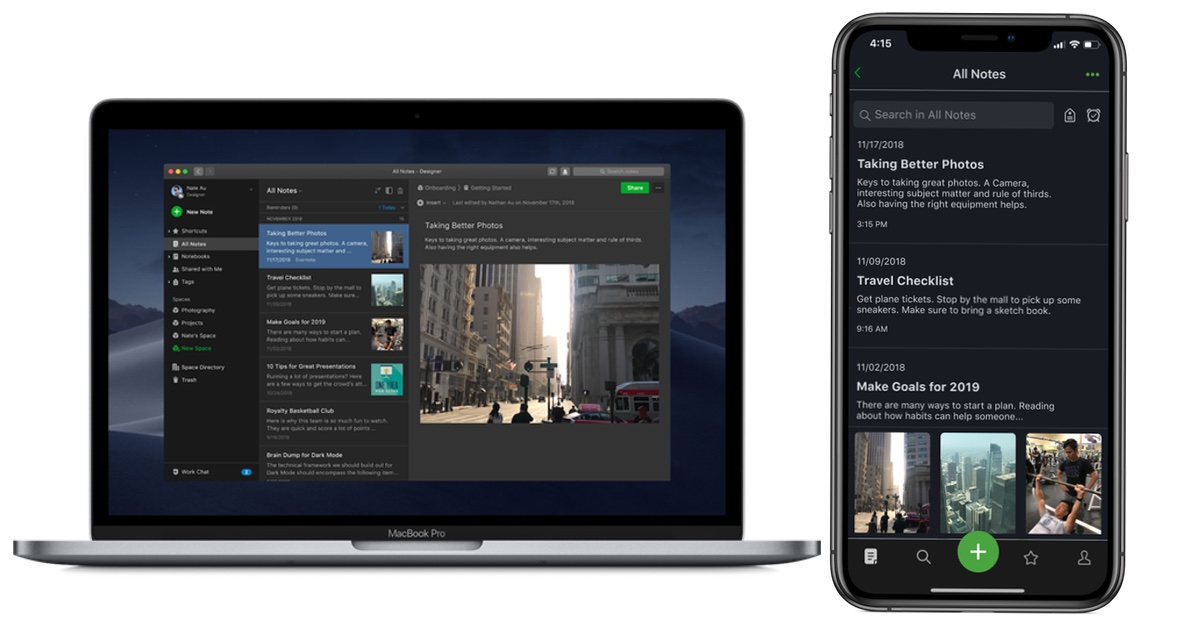 Evernote Launches Dark Mode for iOS and Mac