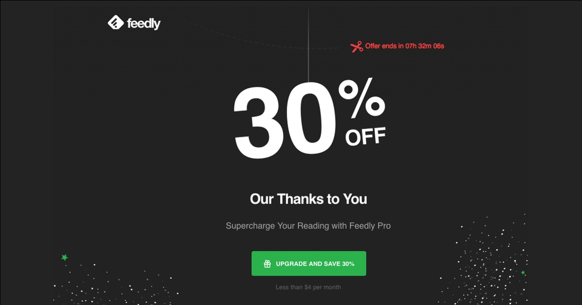 Feedly Offering 30% off Pro Plan