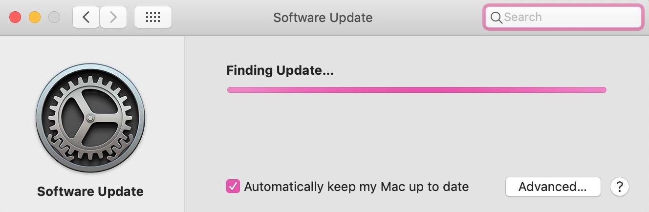 """""""Finding Update"""" Dialog in System Preferences"""