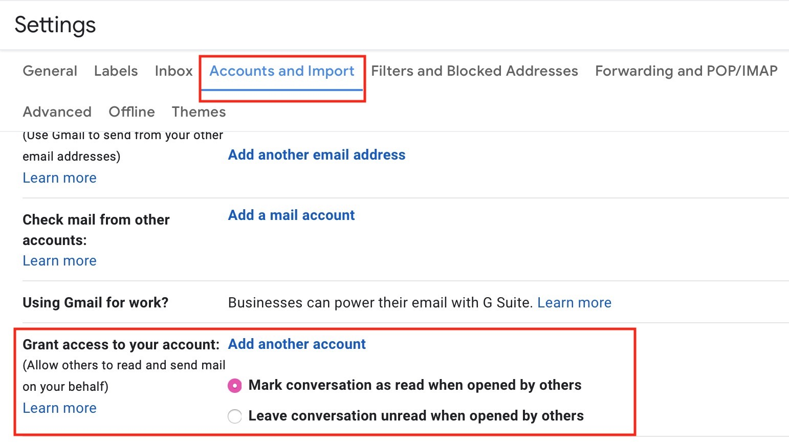 """Accounts and Import"" Tab in Gmail"