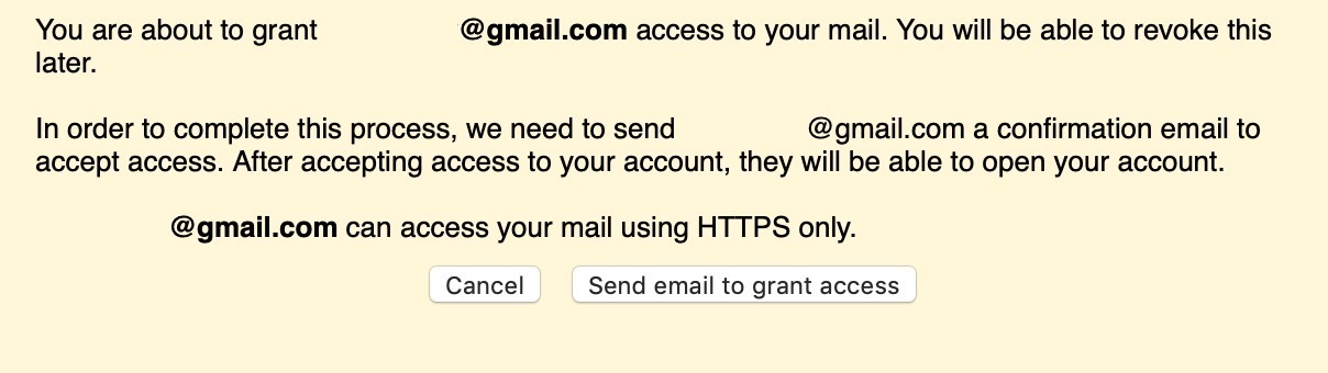 Granting Access to Account Dialog