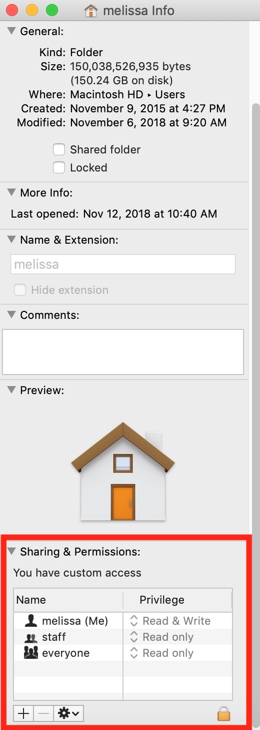 Home Folder Info Window