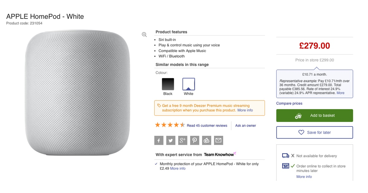 Get a HomePod for £279 in the UK this Cyber Monday