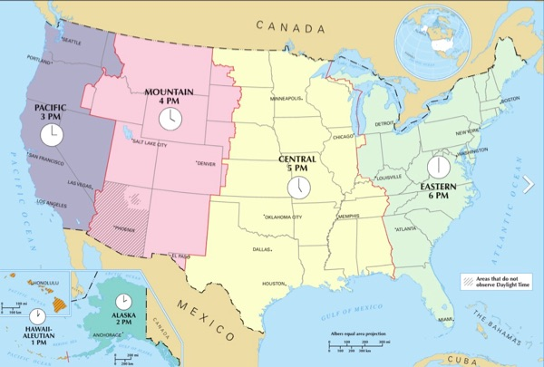U.S. Time Zone Map