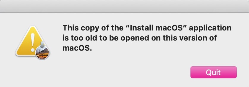 Warning Dialog that High Sierra Is Too Old