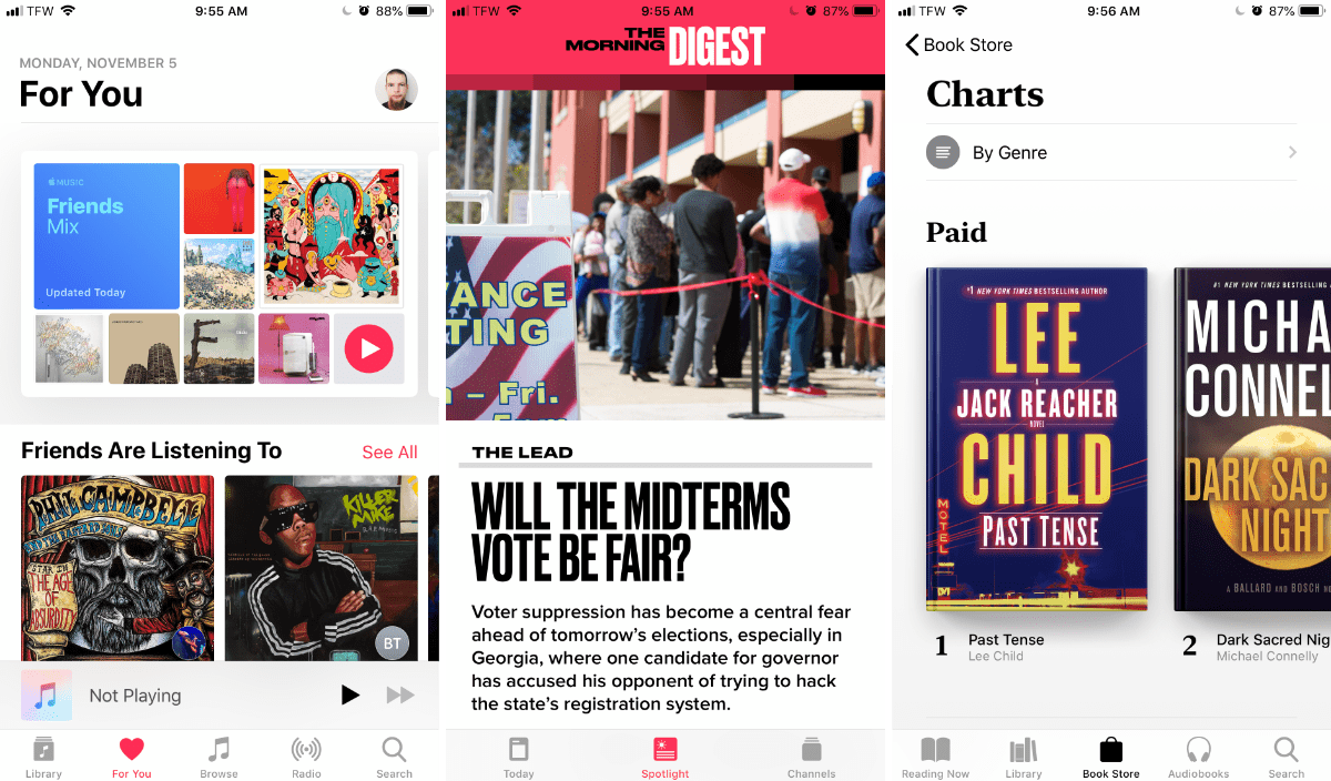 images of apple music, apple news, and apple books