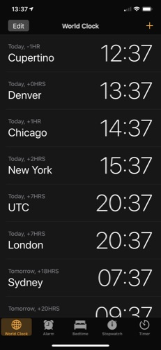 iOS World Clock