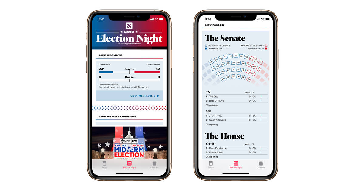 Apple News app on iPhone with Election Night coverage