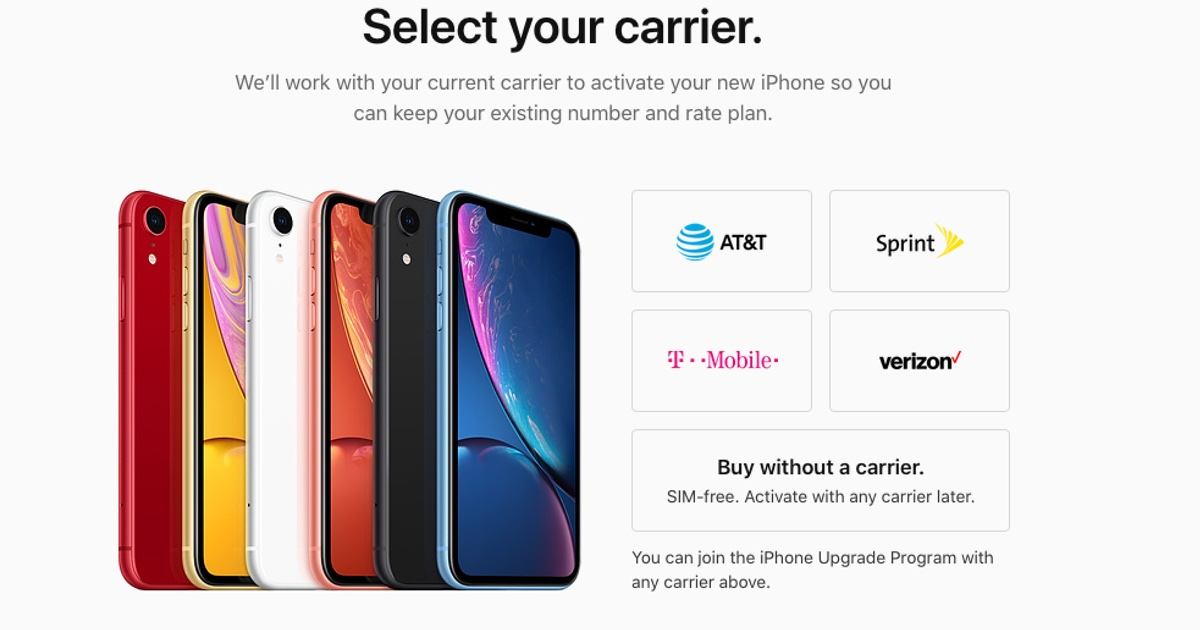 iPhone XR available with no carrier