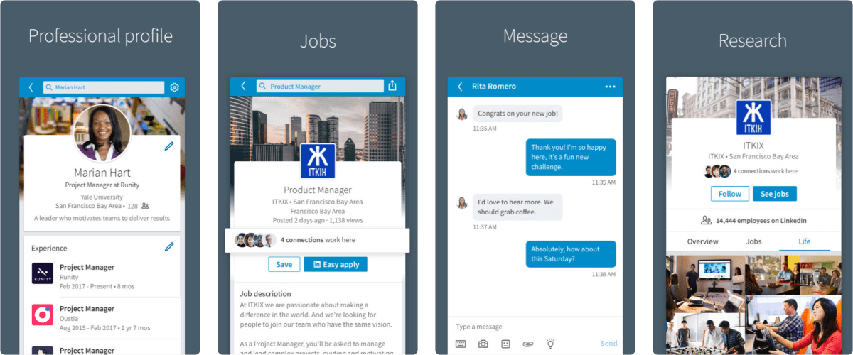 screenshots of linkedin