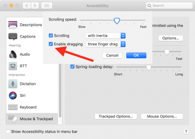 Three-finger dragging screenshot