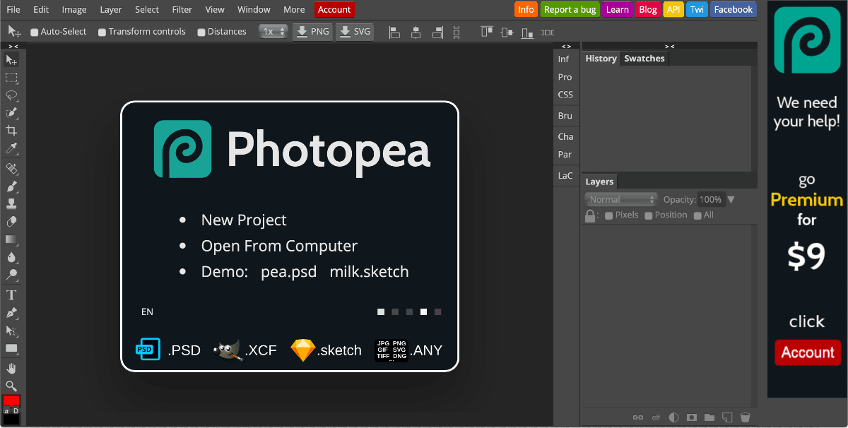 Get Free Photoshop Online With Photopea