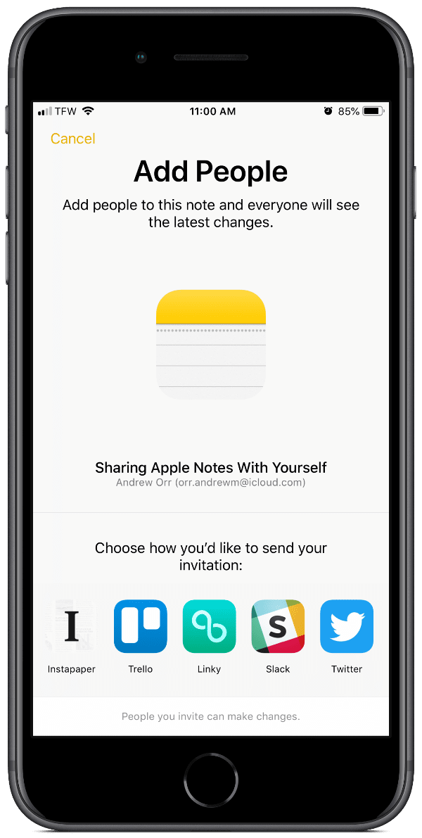 screenshot of how to share apple notes